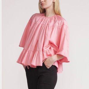 Cynthia Rowley pink coral polished cotton top M/L